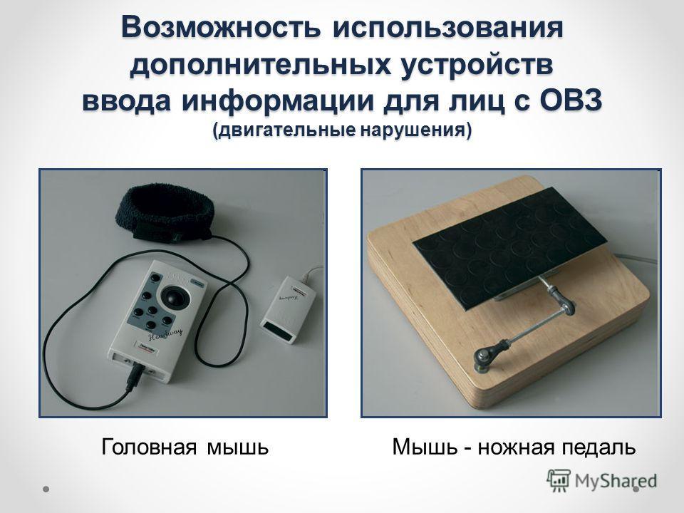 Возможность использования дополнительных устройств ввода информации для лиц с ОВЗ (двигательные нарушения) Головная мышьМышь - ножная педаль
