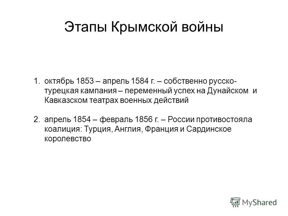 1.октябрь 1853 – апрель 1584 г. – собственно русско- турецкая кампания – переменный успех на Дунайском и Кавказском театрах военных действий 2.апрель 1854 – февраль 1856 г. – России противостояла коалиция: Турция, Англия, Франция и Сардинское королев