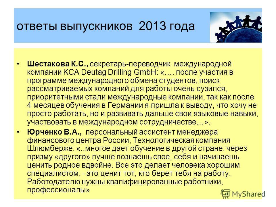 ответы выпускников 2013 года Шестакова К.С., секретарь-переводчик международной компании KCA Deutag Drilling GmbH: «…. после участия в программе международного обмена студентов, поиск рассматриваемых компаний для работы очень сузился, приоритетными с