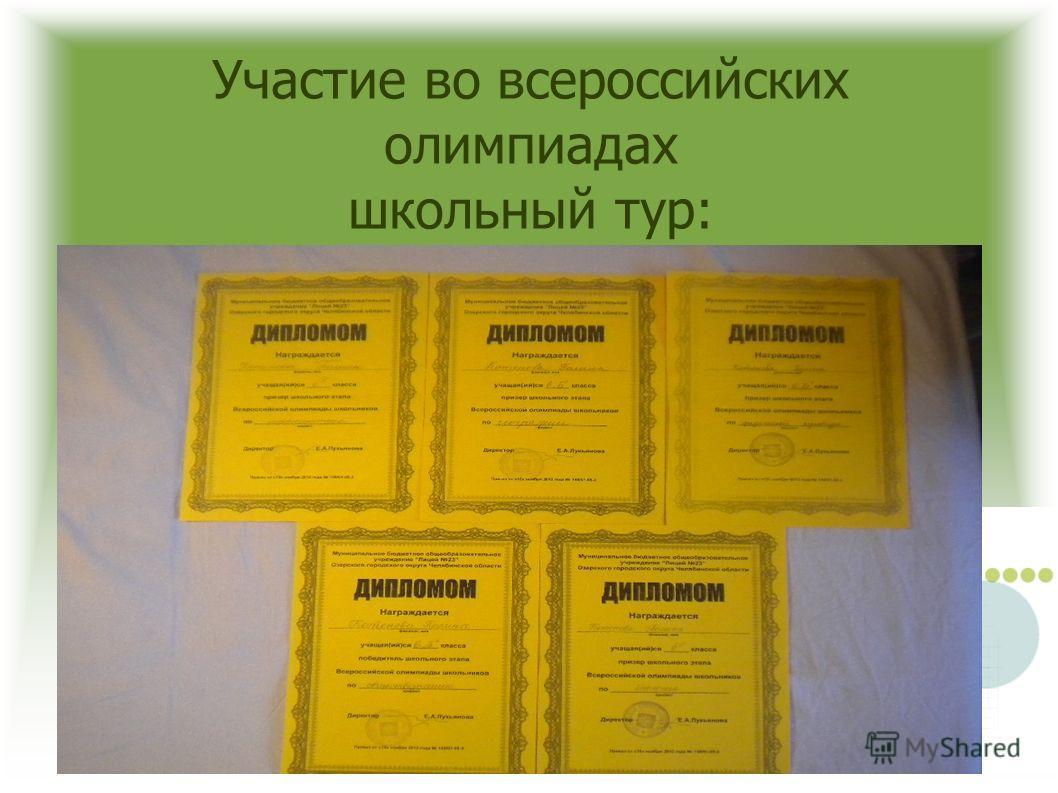 Участие во всероссийских олимпиадах школьный тур: