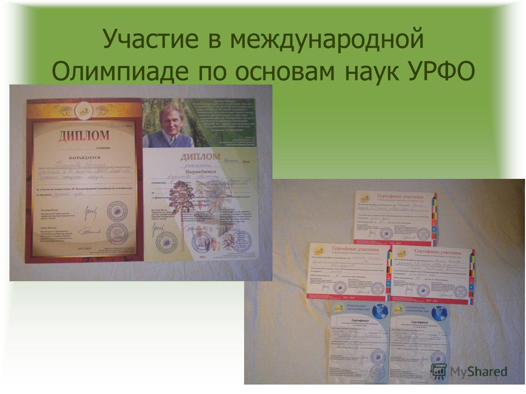 Участие в международной Олимпиаде по основам наук УРФО