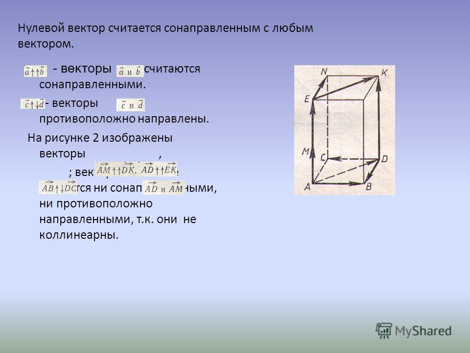 - векторы считаются сонаправленными. - векторы противоположно направлены. На рисунке 2 изображены векторы, ; векторы не являются ни сонаправленными, ни противоположно направленными, т.к. они не коллинеарны. Нулевой вектор считается сонаправленным с л