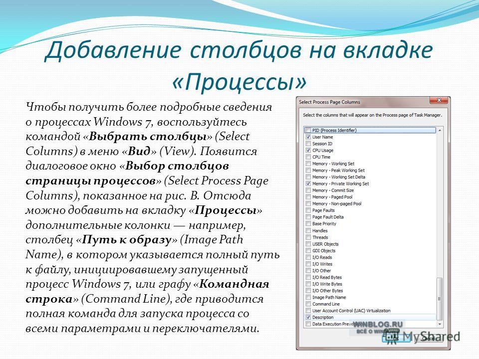 Добавление столбцов на вкладке «Процессы» Чтобы получить более подробные сведения о процессах Windows 7, воспользуйтесь командой «Выбрать столбцы» (Select Columns) в меню «Вид» (View). Появится диалоговое окно «Выбор столбцов страницы процессов» (Sel