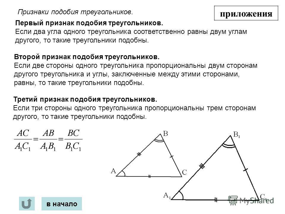 в начало приложения Признаки подобия треугольников. Первый признак подобия треугольников. Если два угла одного треугольника соответственно равны двум углам другого, то такие треугольники подобны. Второй признак подобия треугольников. Если две стороны