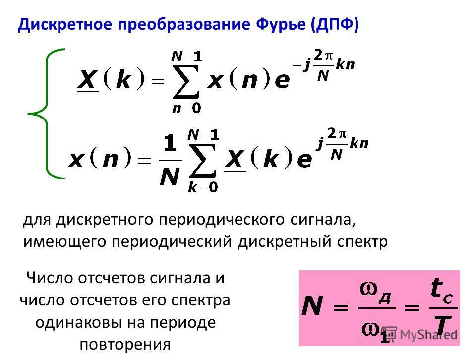 Дискретное преобразование Фурье (ДПФ) для дискретного периодического сигнала, имеющего периодический дискретный спектр Число отсчетов сигнала и число отсчетов его спектра одинаковы на периоде повторения
