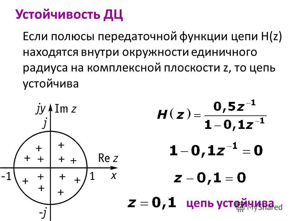 Если полюсы передаточной функции цепи H(z) находятся внутри окружности единичного радиуса на комплексной плоскости z, то цепь устойчива Устойчивость ДЦ цепь устойчива