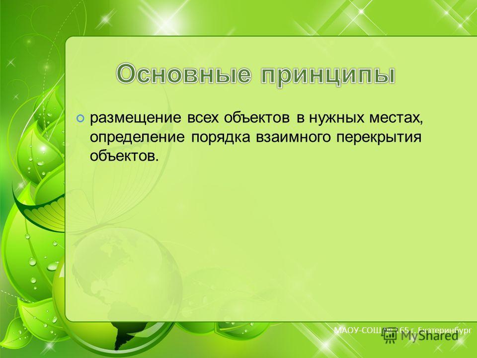 МБОУ-СОШ 165 г. Екатеринбург МАОУ-СОШ 165 г. Екатеринбург размещение всех объектов в нужных местах, определение порядка взаимного перекрытия объектов.
