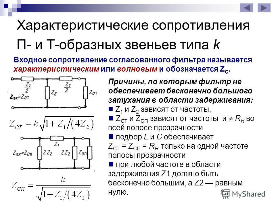 Характеристические сопротивления П- и Т-образных звеньев типа k Входное сопротивление согласованного фильтра называется характеристическим или волновым и обозначается Z С. Причины, по которым фильтр не обеспечивает бесконечно большого затухания в обл