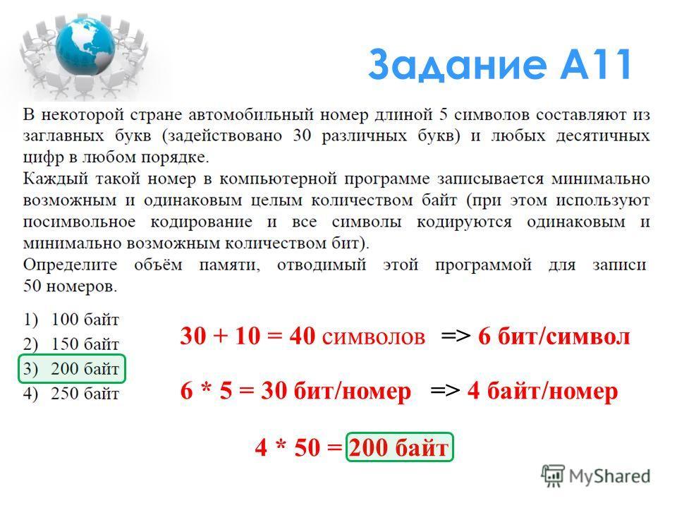 Задание А11 30 + 10 = 40 символов=> 6 бит/символ 6 * 5 = 30 бит/номер=> 4 байт/номер 4 * 50 = 200 байт