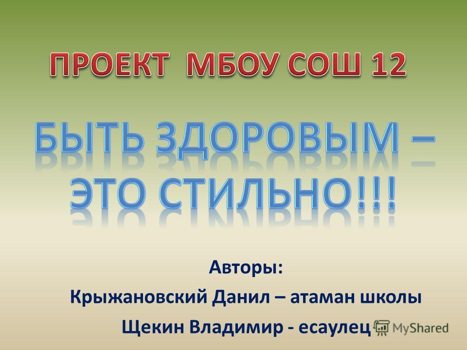 Авторы: Крыжановский Данил – атаман школы Щекин Владимир - есаулец
