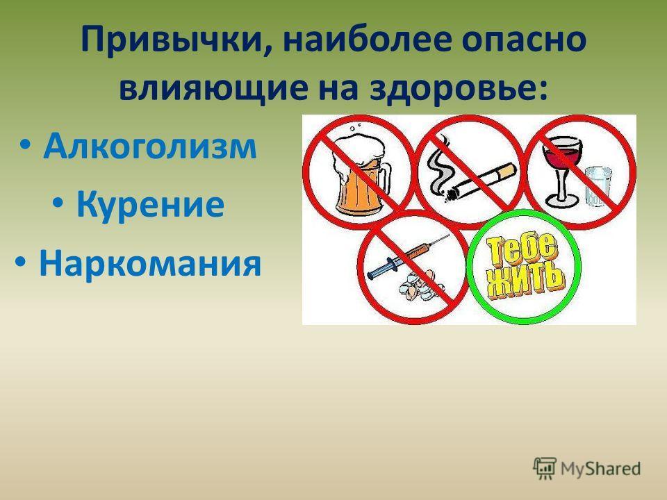 Привычки, наиболее опасно влияющие на здоровье: Алкоголизм Курение Наркомания