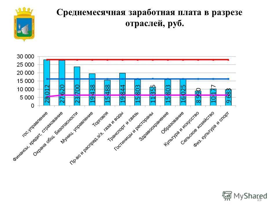 15 Среднемесячная заработная плата в разрезе отраслей, руб.