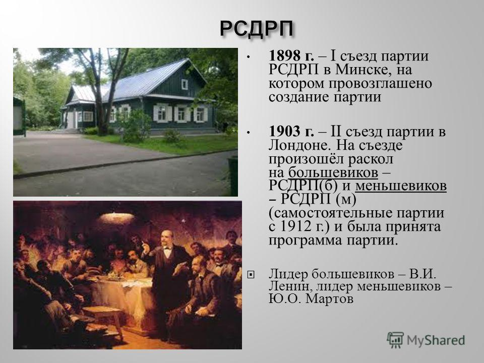 1898 г. – I съезд партии РСДРП в Минске, на котором провозглашено создание партии 1903 г. – II съезд партии в Лондоне. На съезде произошёл раскол на большевиков – РСДРП ( б ) и меньшевиков – РСДРП ( м ) ( самостоятельные партии с 1912 г.) и была прин