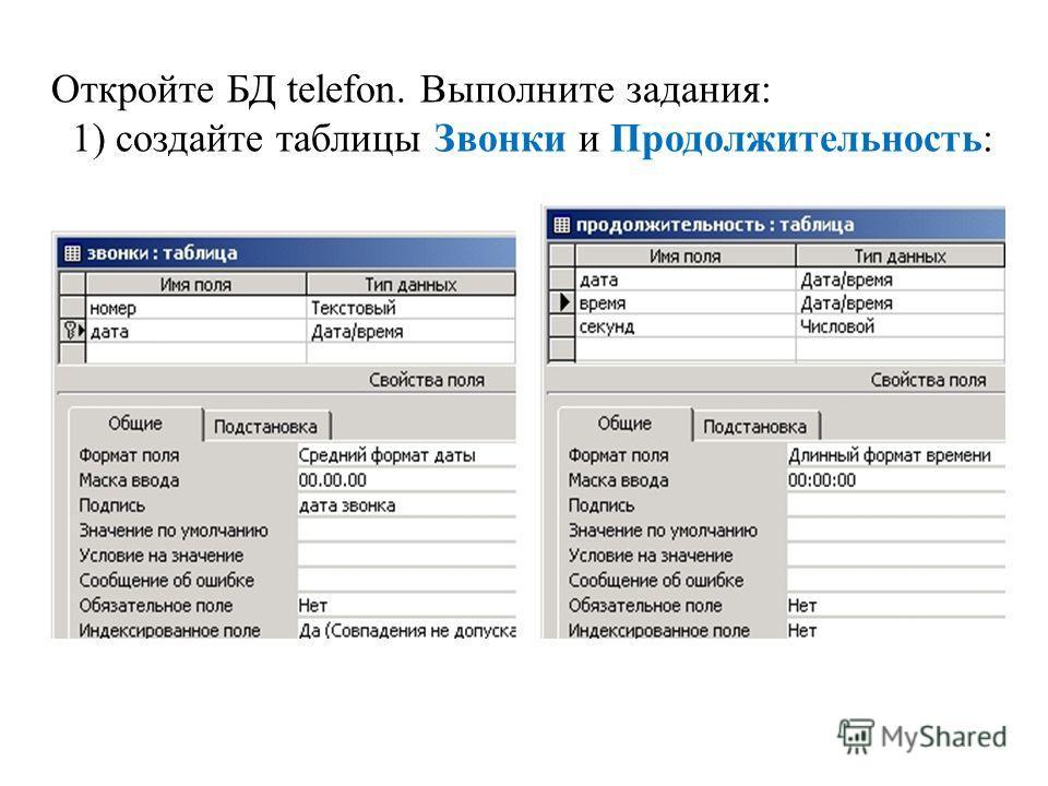 Откройте БД telefon. Выполните задания: 1) создайте таблицы Звонки и Продолжительность: