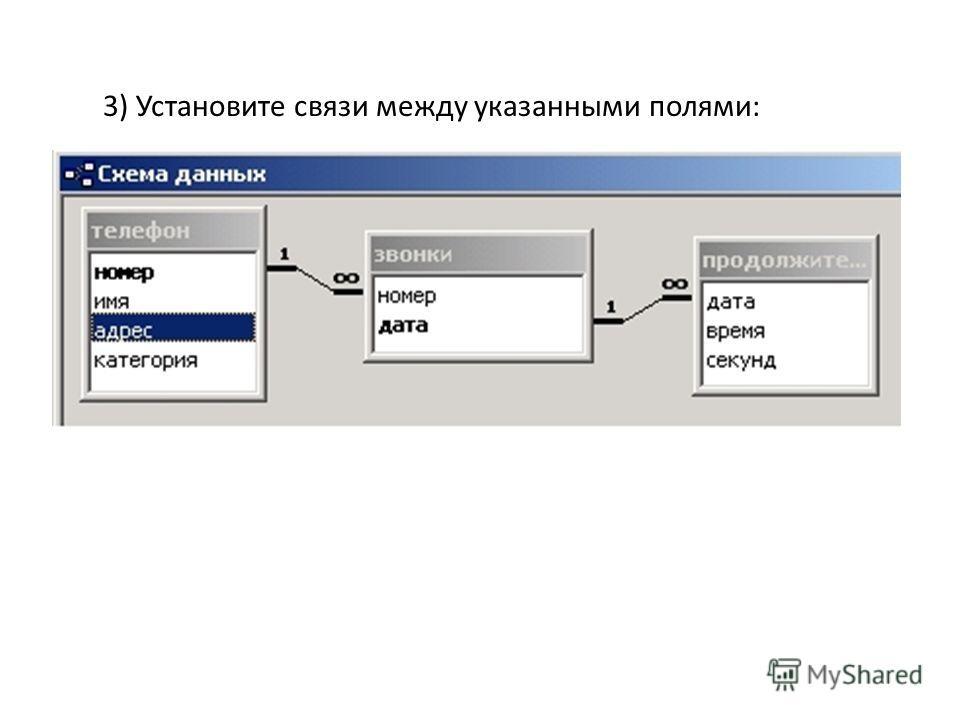 3) Установите связи между указанными полями: