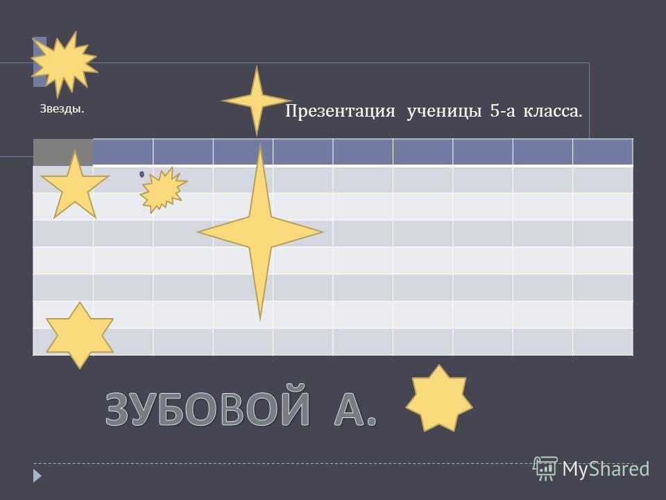 Презентация ученицы 5- а класса. Звезды.