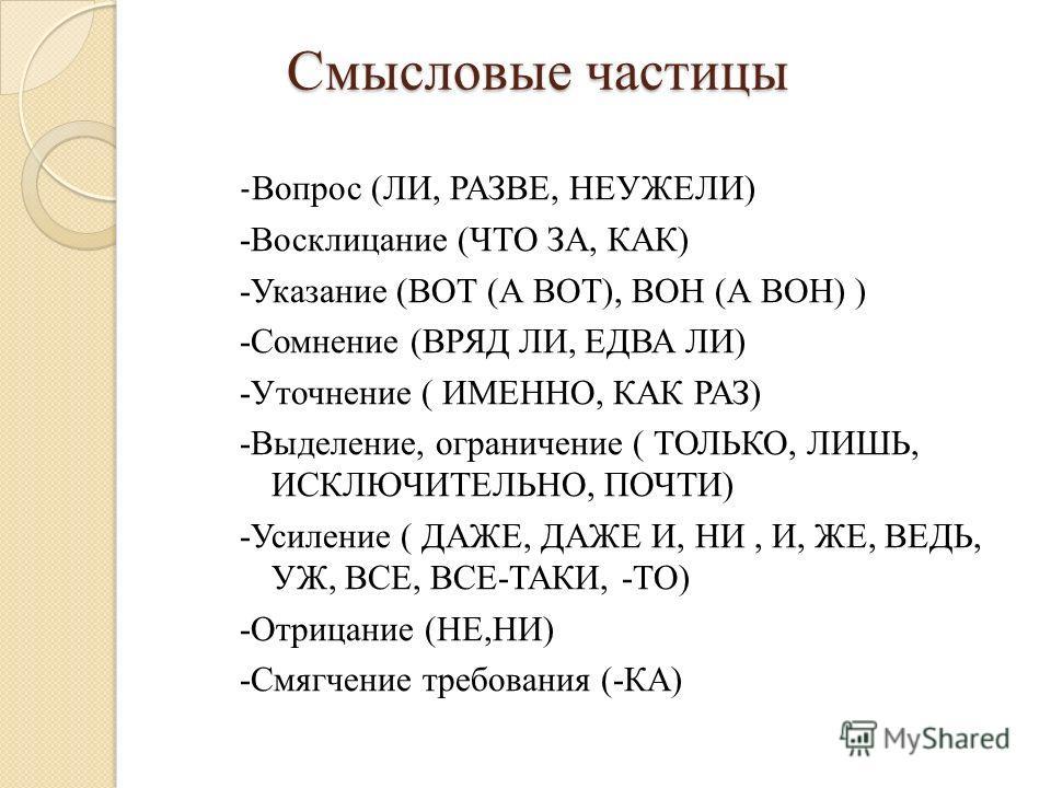 Смысловые частицы Смысловые частицы - Вопрос (ЛИ, РАЗВЕ, НЕУЖЕЛИ) -Восклицание (ЧТО ЗА, КАК) -Указание (ВОТ (А ВОТ), ВОН (А ВОН) ) -Сомнение (ВРЯД ЛИ, ЕДВА ЛИ) -Уточнение ( ИМЕННО, КАК РАЗ) -Выделение, ограничение ( ТОЛЬКО, ЛИШЬ, ИСКЛЮЧИТЕЛЬНО, ПОЧТИ
