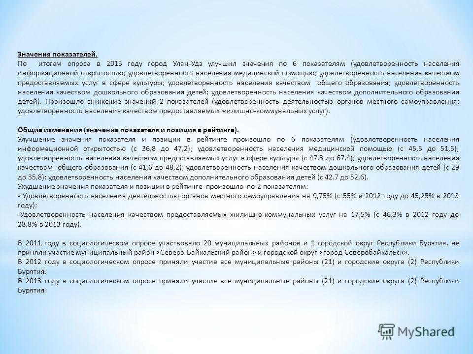 Значения показателей. По итогам опроса в 2013 году город Улан-Удэ улучшил значения по 6 показателям (удовлетворенность населения информационной открытостью; удовлетворенность населения медицинской помощью; удовлетворенность населения качеством предос