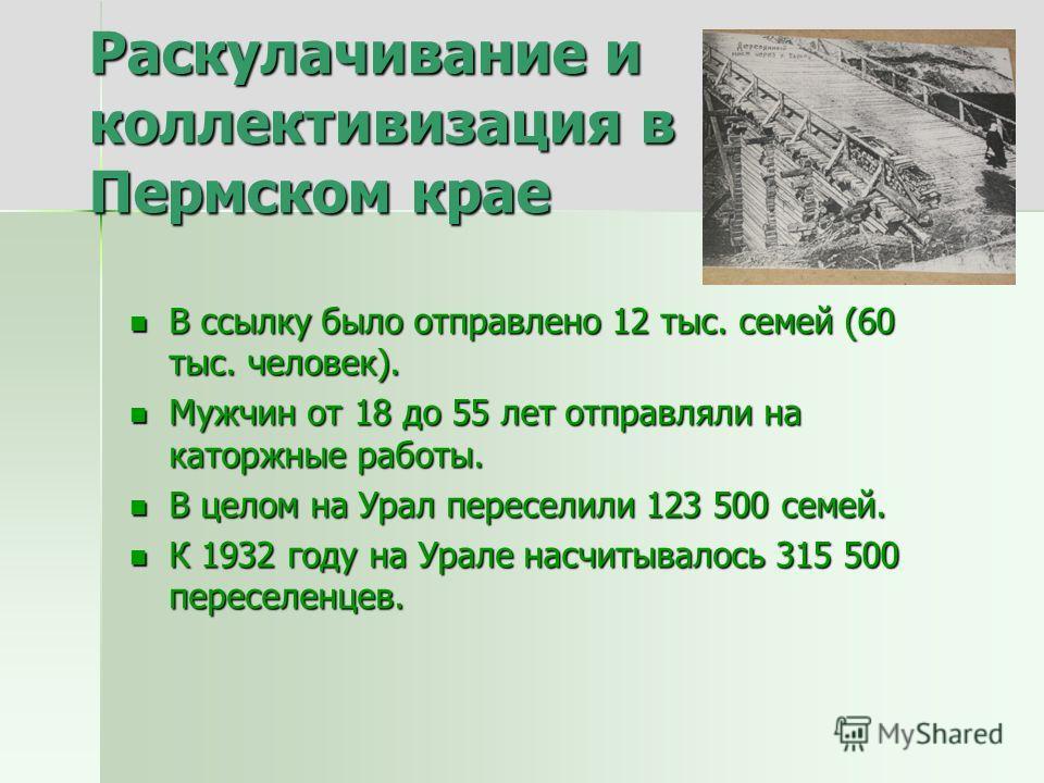 Раскулачивание и коллективизация в Пермском крае В ссылку было отправлено 12 тыс. семей (60 тыс. человек). В ссылку было отправлено 12 тыс. семей (60 тыс. человек). Мужчин от 18 до 55 лет отправляли на каторжные работы. Мужчин от 18 до 55 лет отправл