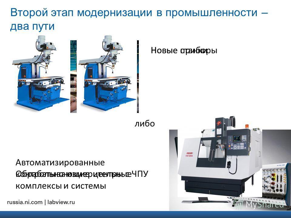 Второй этап модернизации в промышленности – два пути Новые станки Обрабатывающие центры с ЧПУ Новые приборы Автоматизированные контрольно-измерительные комплексы и системы либо