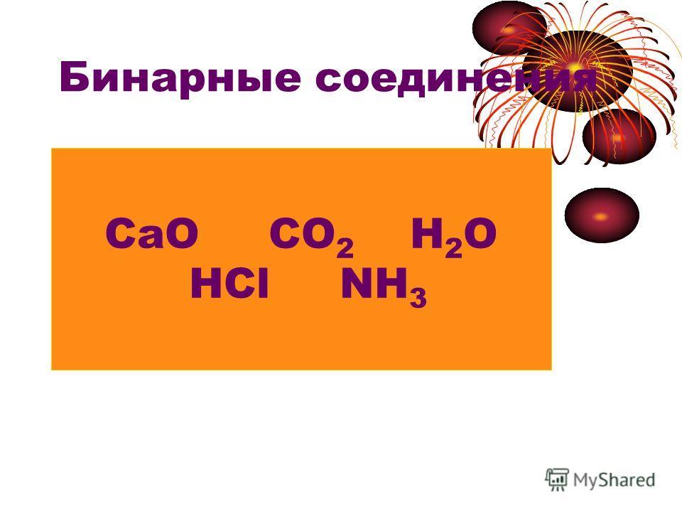 Бинарные соединения Состоят из двух элементов СаО СО 2 Н 2 О HCl NH 3