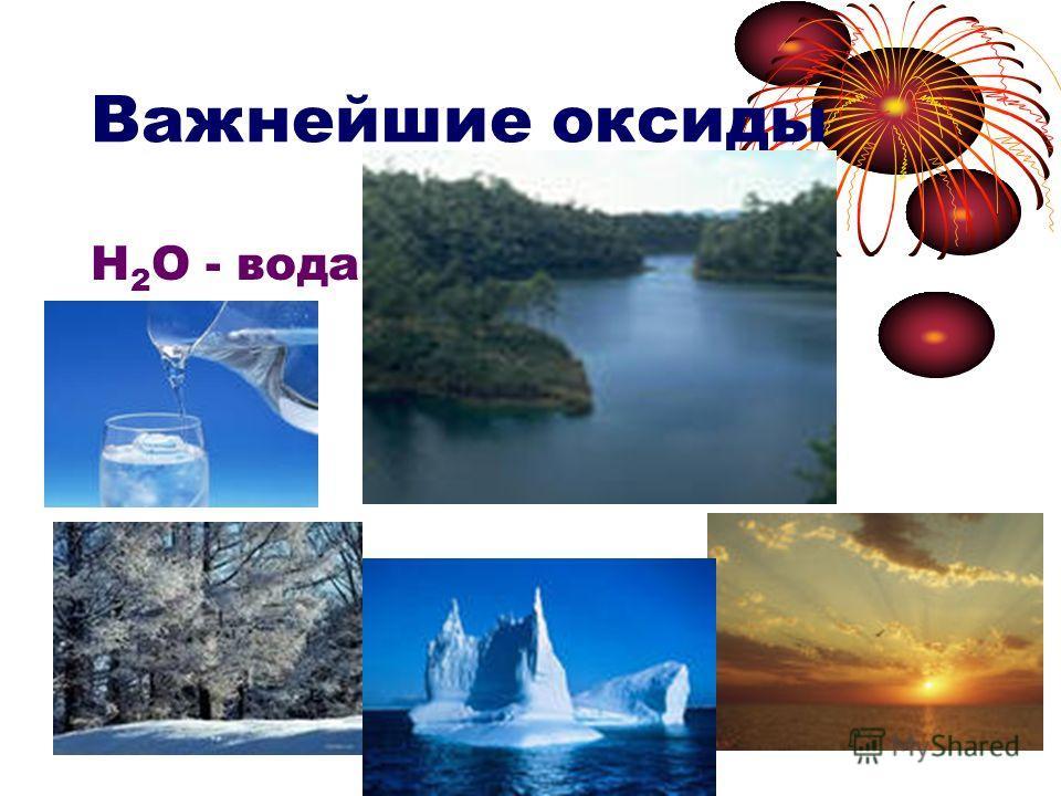 Важнейшие оксиды Н 2 О - вода