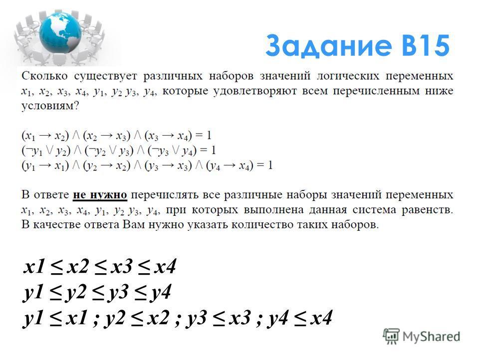 Задание В15 x1 x2 x3 x4 y1 y2 y3 y4 y1 x1 ; y2 x2 ; y3 x3 ; y4 x4
