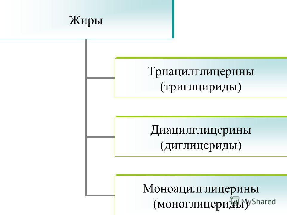 Жиры Триацилглицерины (триглцириды) Диацилглицерины (диглицериды) Моноацилглицерины (моноглицериды)