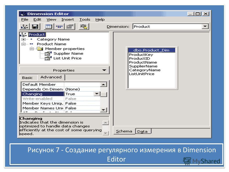 Рисунок 7 - Создание регулярного измерения в Dimension Editor