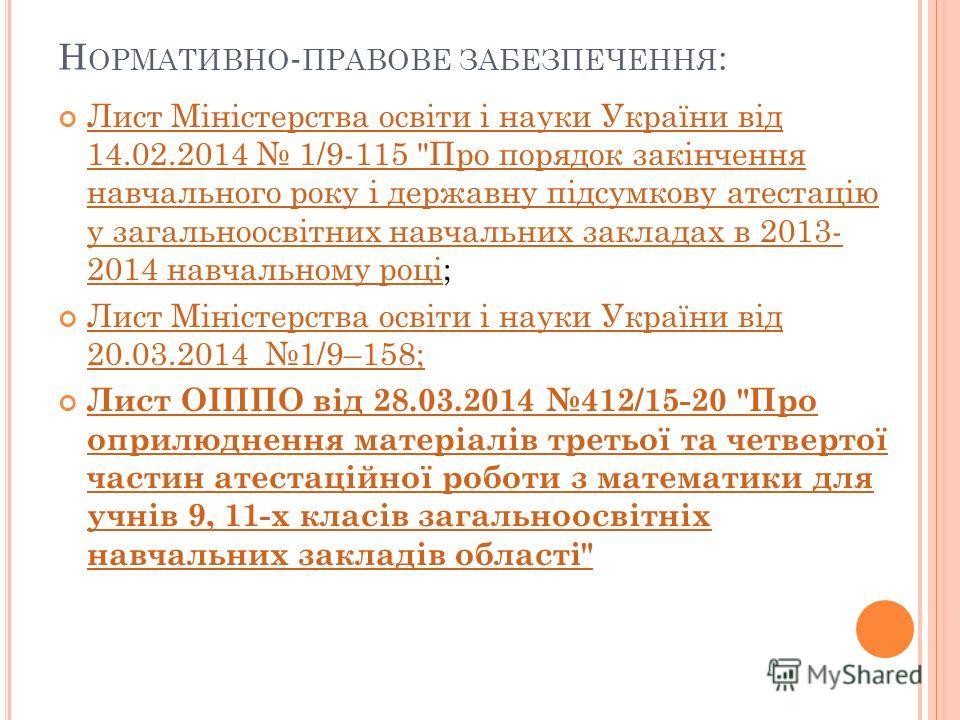 Н ОРМАТИВНО - ПРАВОВЕ ЗАБЕЗПЕЧЕННЯ : Лист Міністерства освіти і науки України від 14.02.2014 1/9-115