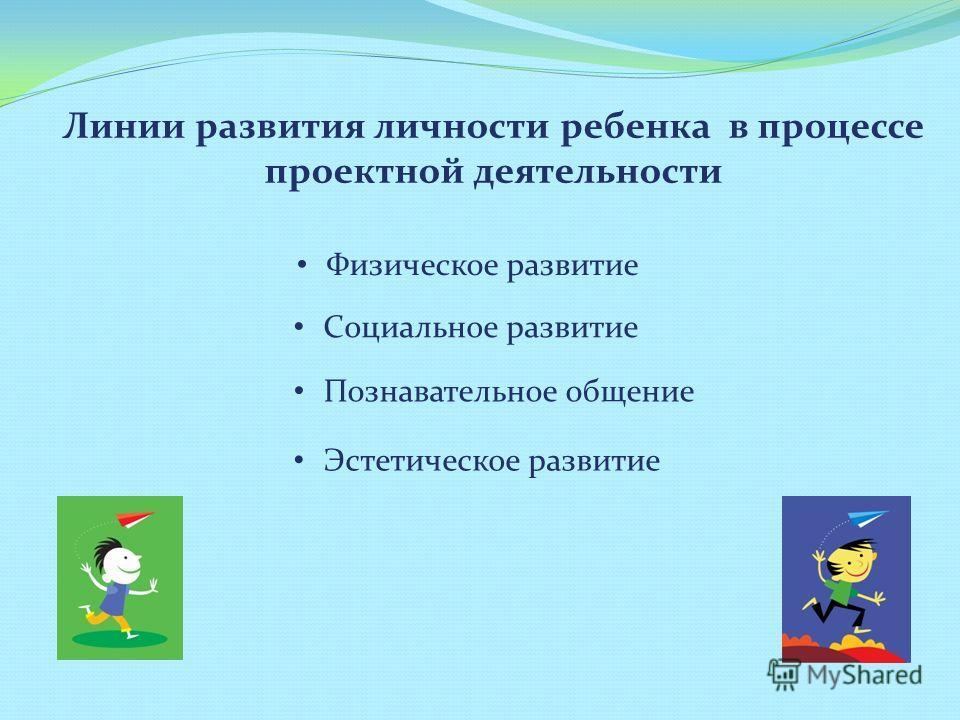 Линии развития личности ребенка в процессе проектной деятельности Физическое развитие Социальное развитие Познавательное общение Эстетическое развитие