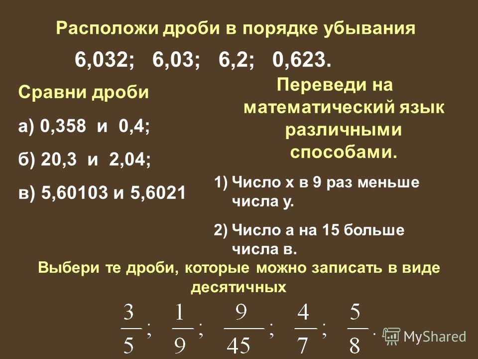 Расположи дроби в порядке убывания 6,032; 6,03; 6,2; 0,623. Сравни дроби а) 0,358 и 0,4; б) 20,3 и 2,04; в) 5,60103 и 5,6021 Переведи на математический язык различными способами. 1)Число х в 9 раз меньше числа у. 2)Число а на 15 больше числа в. Выбер