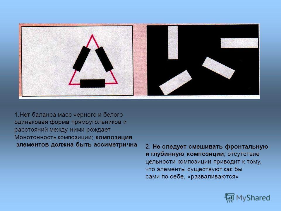 1.Нет баланса масс черного и белого одинаковая форма прямоугольников и расстояний между ними рождает Монотонность композиции; композиция элементов должна быть ассиметрична 2. Не следует смешивать фронтальную и глубинную композиции; отсутствие цельнос