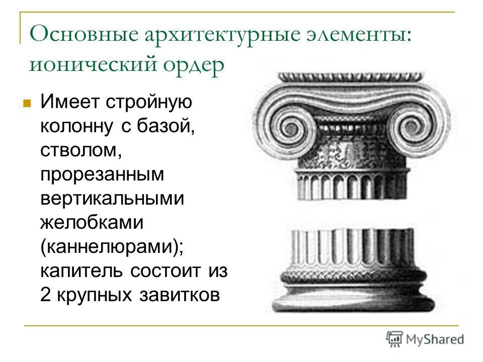 Основные архитектурные элементы: ионический ордер Имеет стройную колонну с базой, стволом, прорезанным вертикальными желобками (каннелюрами); капитель состоит из 2 крупных завитков