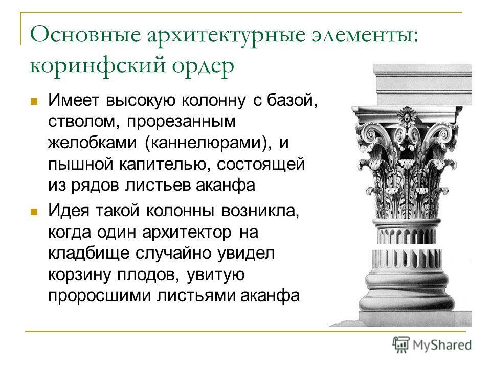 Основные архитектурные элементы: коринфский ордер Имеет высокую колонну с базой, стволом, прорезанным желобками (каннелюрами), и пышной капителью, состоящей из рядов листьев аканфа Идея такой колонны возникла, когда один архитектор на кладбище случай