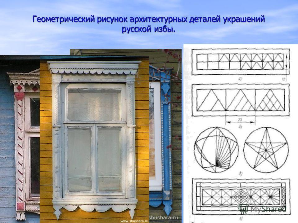 Геометрический рисунок архитектурных деталей украшений русской избы.