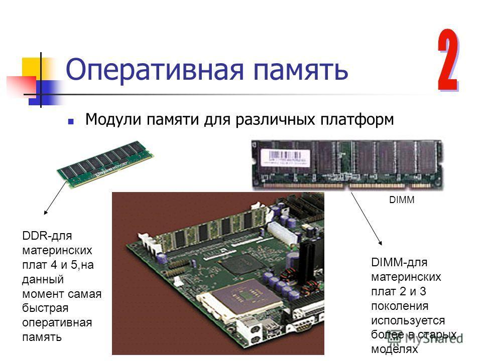 Оперативная память Модули памяти для различных платформ DDR-для материнских плат 4 и 5,на данный момент самая быстрая оперативная память DIMM DIMM-для материнских плат 2 и 3 поколения используется более в старых моделях