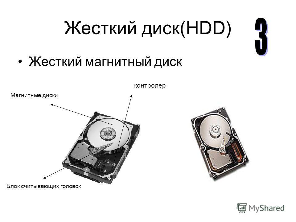 Жесткий диск(HDD) Жесткий магнитный диск Магнитные диски Блок считывающих головок контролер