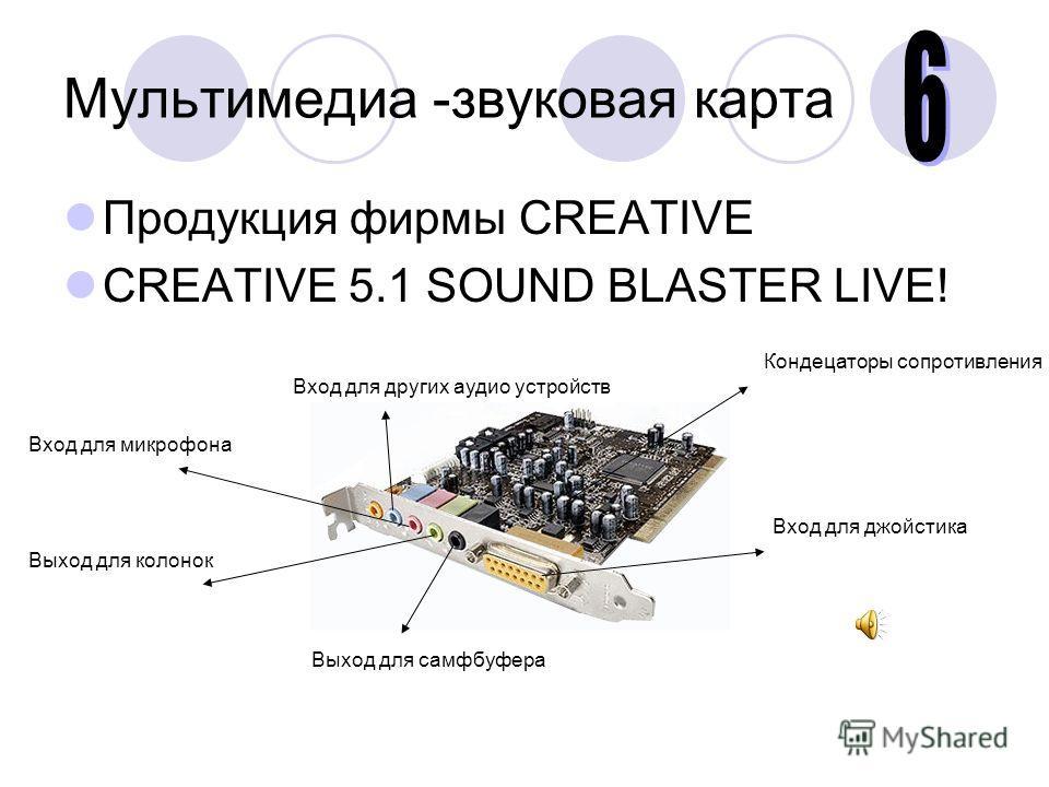 Мультимедиа -звуковая карта Продукция фирмы CREATIVE CREATIVE 5.1 SOUND BLASTER LIVE! Выход для самфбуфера Выход для колонок Вход для микрофона Вход для других аудио устройств Вход для джойстика Кондецаторы сопротивления