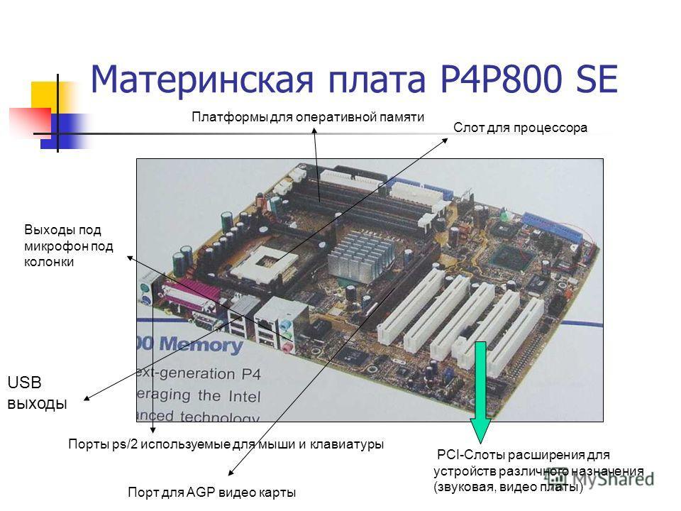 Материнская плата P4P800 SE USB выходы Выходы под микрофон под колонки Порты ps/2 используемые для мыши и клавиатуры PCI-Слоты расширения для устройств различного назначения (звуковая, видео платы) Слот для процессора Порт для AGP видео карты Платфор