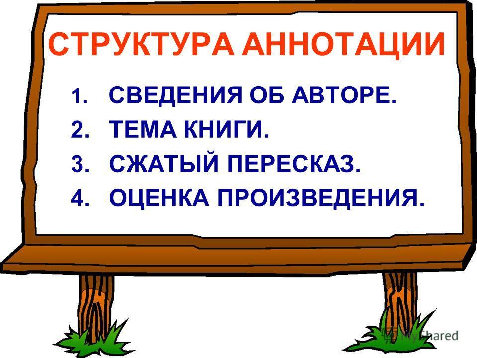 СТРУКТУРА АННОТАЦИИ 1. СВЕДЕНИЯ ОБ АВТОРЕ. 2. ТЕМА КНИГИ. 3. СЖАТЫЙ ПЕРЕСКАЗ. 4. ОЦЕНКА ПРОИЗВЕДЕНИЯ.