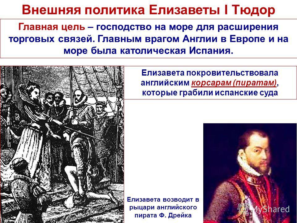 Внешняя политика Елизаветы I Тюдор Елизавета возводит в рыцари английского пирата Ф. Дрейка Главная цель – господство на море для расширения торговых связей. Главным врагом Англии в Европе и на море была католическая Испания. Елизавета покровительств
