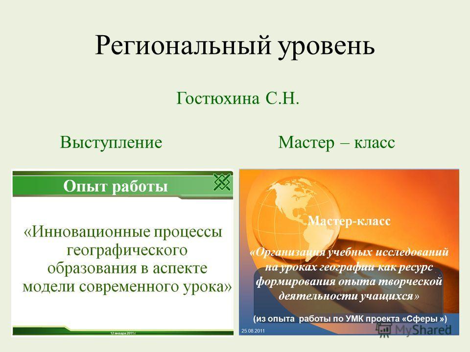 Региональный уровень Гостюхина С.Н. Выступление Мастер – класс
