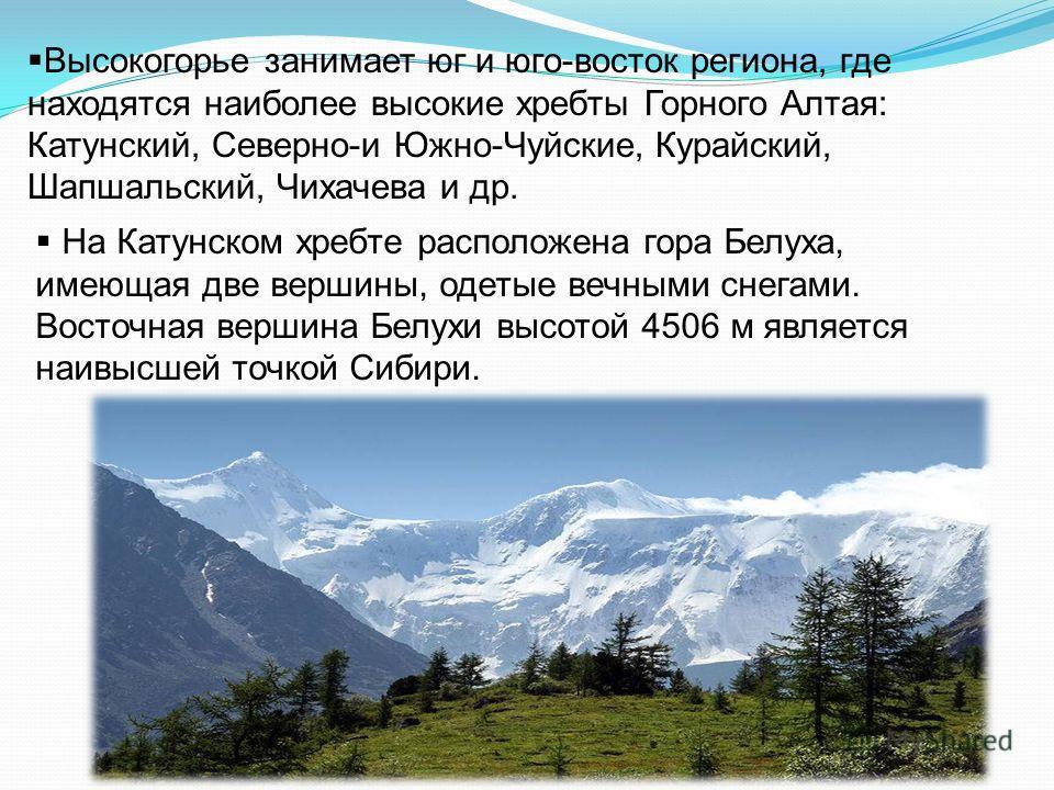 Высокогорье занимает юг и юго-восток региона, где находятся наиболее высокие хребты Горного Алтая: Катунский, Северно-и Южно-Чуйские, Курайский, Шапшальский, Чихачева и др. На Катунском хребте расположена гора Белуха, имеющая две вершины, одетые вечн
