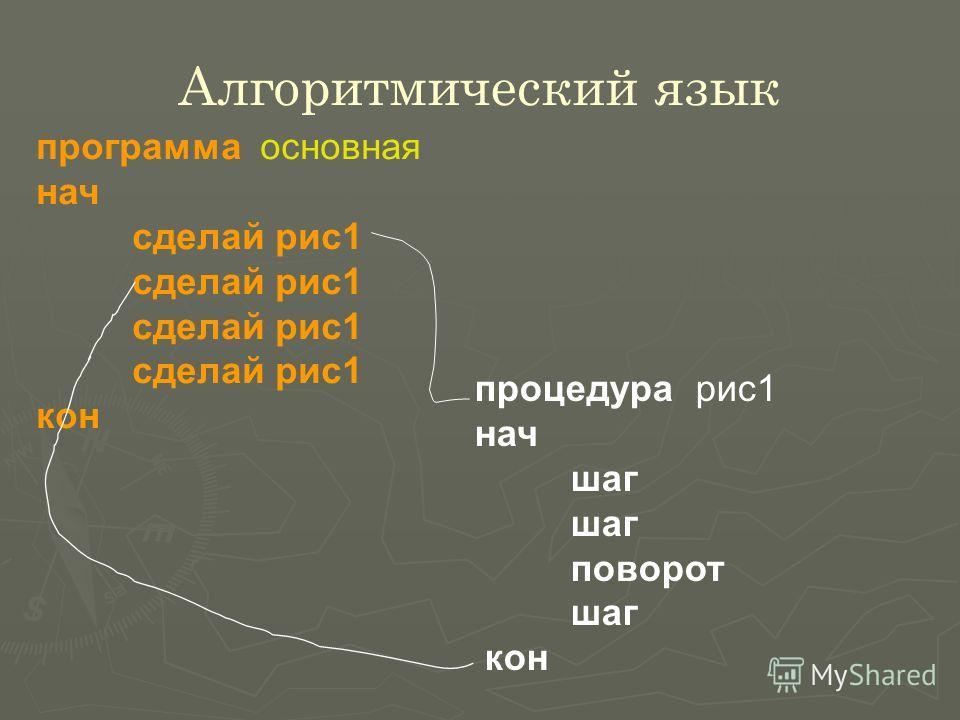 Алгоритмический язык программа основная нач сделай рис1 кон процедура рис1 нач шаг поворот шаг кон