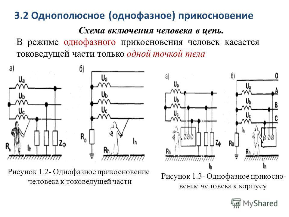 3.2 Однополюсное (однофазное) прикосновение Схема включения человека в цепь. В режиме однофазного прикосновения человек касается токоведущей части только одной точкой тела Рисунок 1.2- Однофазное прикосновение человека к токоведущей части Рисунок 1.3