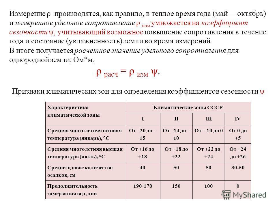 Измерение ρ производятся, как правило, в теплое время года (май октябрь) и измеренное удельное сопротивление ρ изм умножается на коэффициент сезонности ψ, учитывающий возможное повышение сопротивления в течение года и состояние (увлажненность) земли