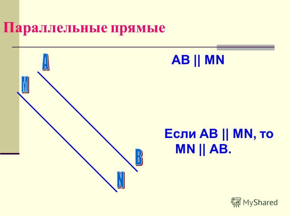 Параллельные прямые AB    MN Если AB    MN, то MN    AB.