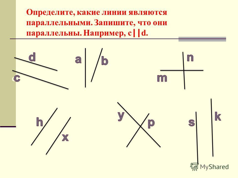 k o p yx e m n b a d c Определите, какие линии являются параллельными. Запишите, что они параллельны. Например, c    d.
