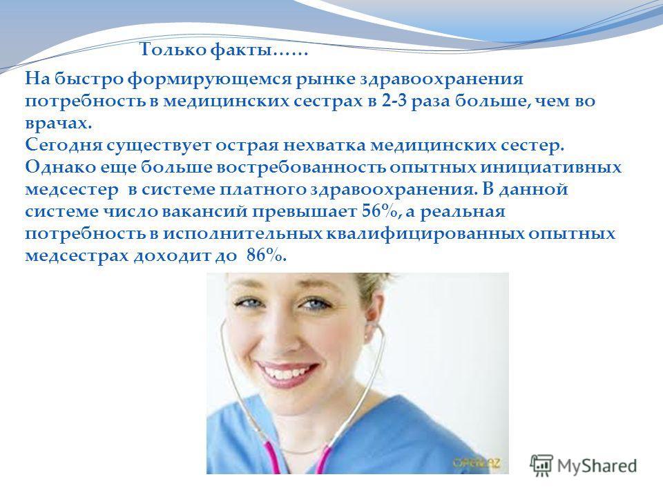 На быстро формирующемся рынке здравоохранения потребность в медицинских сестрах в 2-3 раза больше, чем во врачах. Сегодня существует острая нехватка медицинских сестер. Однако еще больше востребованность опытных инициативных медсестер в системе платн